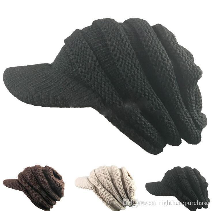 Mode Frauen Damen Berets Herbst Winter Warm Crochet Gestrickte Slouchy Geizigen Krempe Cap Tide Crochet Hut