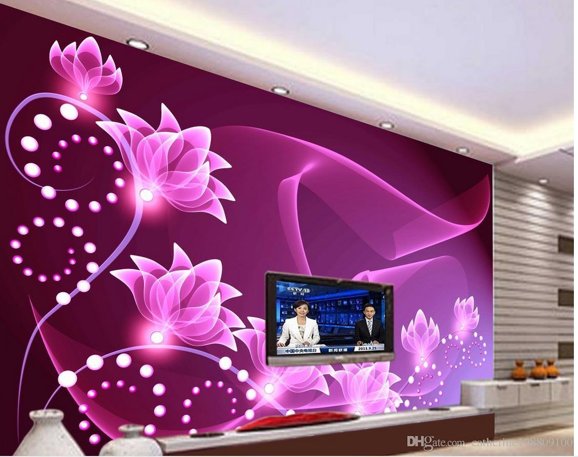 Großhandel 3d Stereoskopische Tapete Mode Dekor Dekoration Für Schlafzimmer  Purple Romantischen Sieben Blume Wohnzimmer Hintergrund Wand Von ...