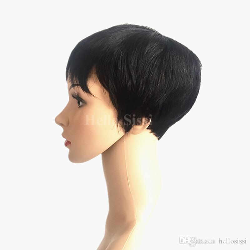 African American brazilian virgin hair Wig Short Wigs for Black Women Pixie Cut Wig for Women Short Cheap Afro Full Short Hair