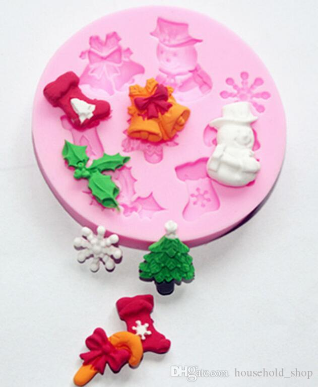 Silicone Cake Moulds DIY Cookies Candy Christmas Molds Silicone Bakeware Christmas Tree Stocking Snowflakes Shaped Baking Kitchen Tools