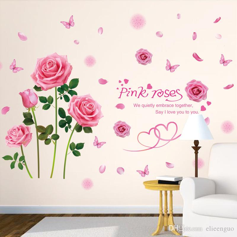 Pink Color Rose Wall Sticker Pvc Material Creative Flower Wall Decals For Living  Room Girlu0027S Bedroom Decoration Wall Stickers Cheap Wall Stickers Children  ...