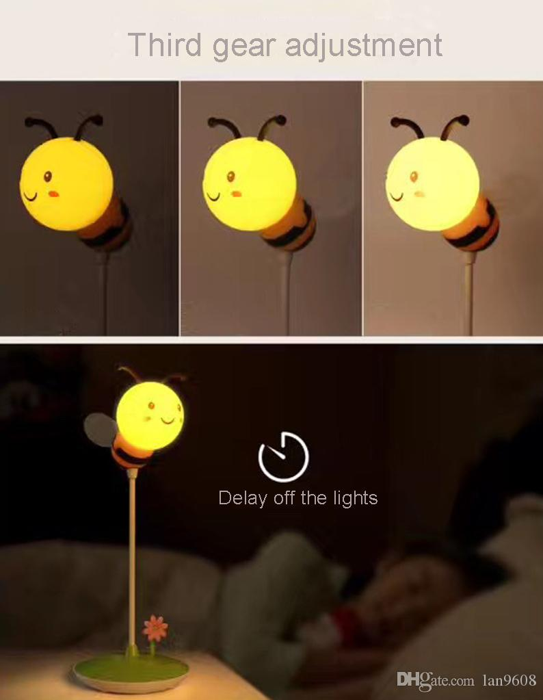 LED bee lamp three lights dimming reading reading cartoon styling can be bent any night light time off lights 3D light fairy