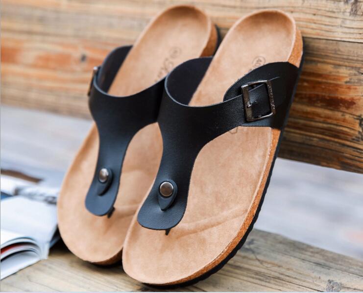 fa8b01937e 2017 New Summer Hot Sell Men Women Flat Cork Slippers Sandals Flip Flops  Shoes Beach Shoes size 39-44