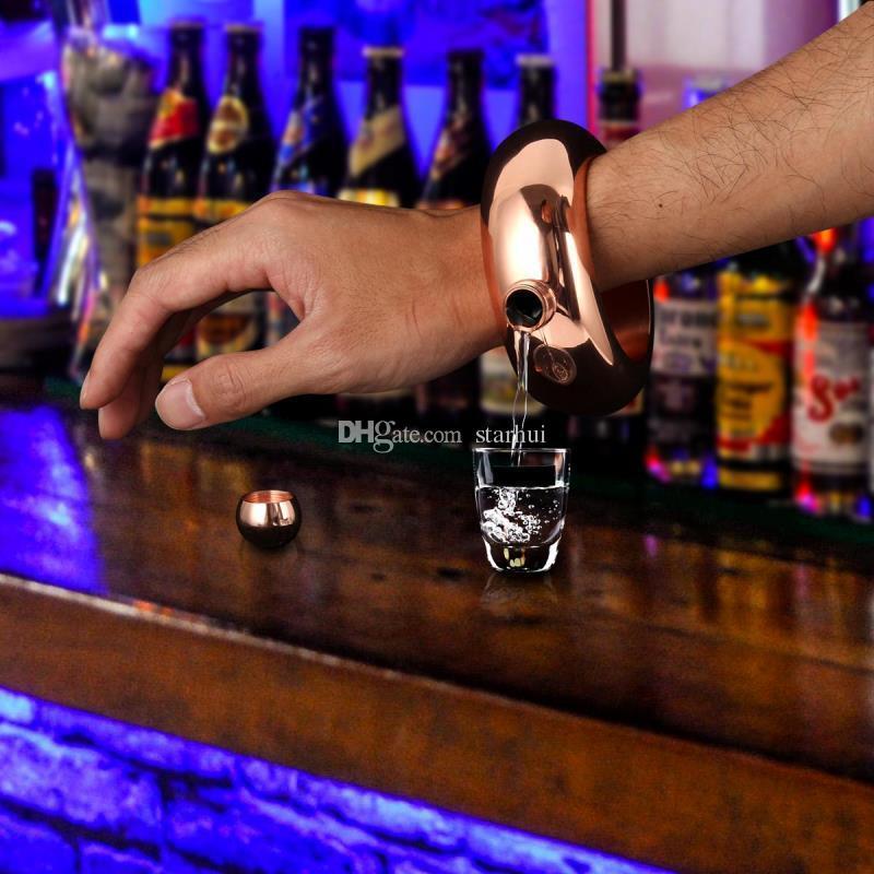 3.5oz Brazalete Brazalete Flasks Acero Inoxidable Jarra Pulsera Alcohol Frasco de Cadera Embudo Regalo de la Joyería Embudo Embudo con Embudo Caja Blanca WX-C30
