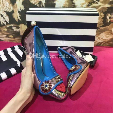 2018 Classic Mary Jane T Stage Wedding Party Pumps Sexy Chunky heels Metal Square toe Womens Dress Shoes