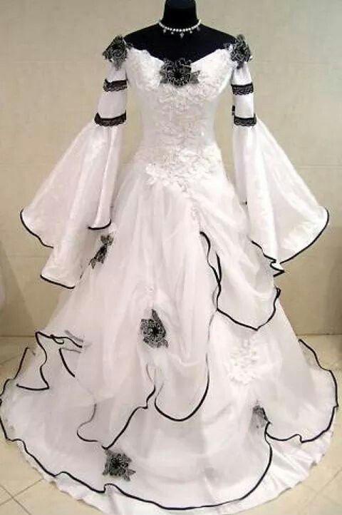 Vestido de boda gótico blanco y negro de la vendimia Scoop fuera del hombro Vestidos de novia celta Cremallera corsé Flores hechas a mano Tren de barrido