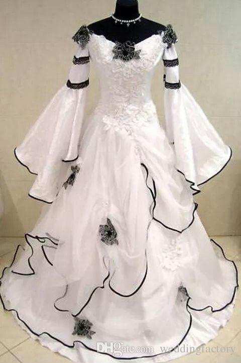 Vintage Black and White Gothic Wedding Dress Scoop Off the Shoulder Celtic Bridal Gowns Zipper up Corset Handmade Flowers Sweep Train