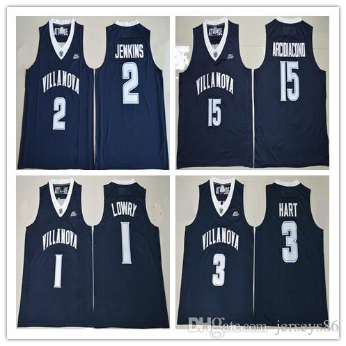 2ef60494951f 2019 College Jerseys Basketball Villanova Wildcats 1 Kyle Lowry 2 Kris  Jenkins 3 Josh Hart 15 Ryan Arcidiacono Stitched Jersey Color Navy Blue From  ...