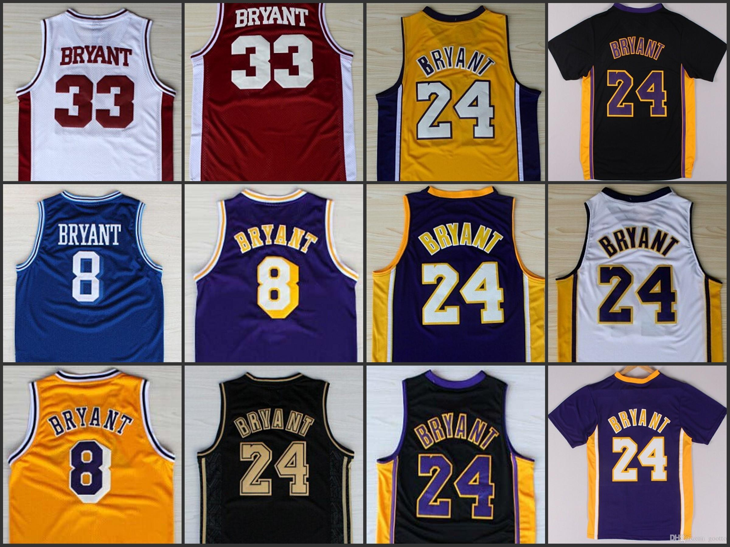 3913a972a0d 2019 Wholesale 24 Kobe Bryant Jersey 8 Throwback High School Lower Merion  Yellow Purple White Black Blue Red From Gootto, $14.22 | DHgate.Com