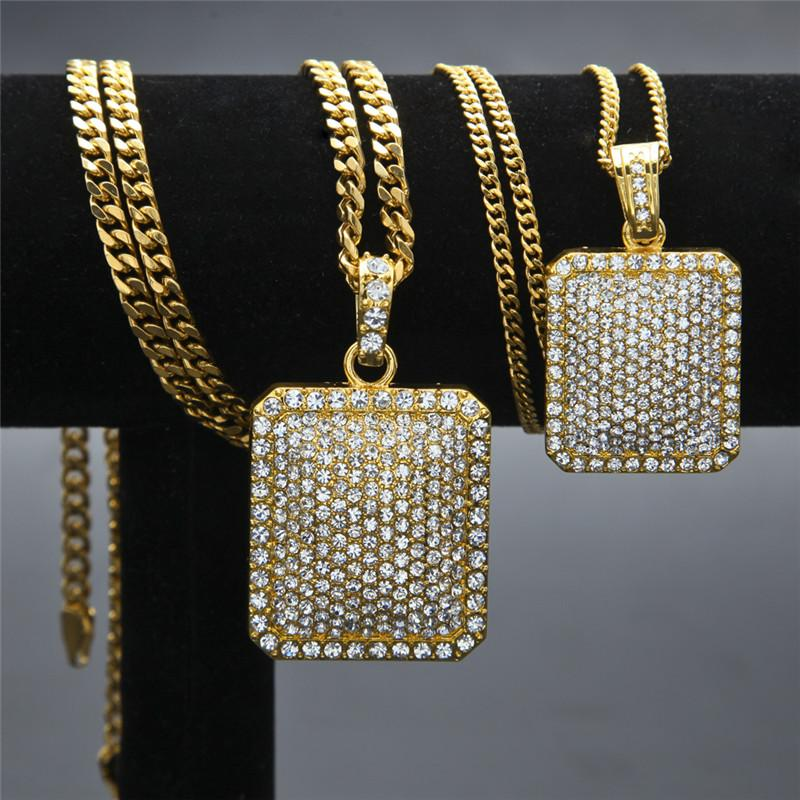2017 new Men women unisex hip hop necklace blingbling diamond pendant heavy industry full diamond trophy Cuban Chain necklace jewelry