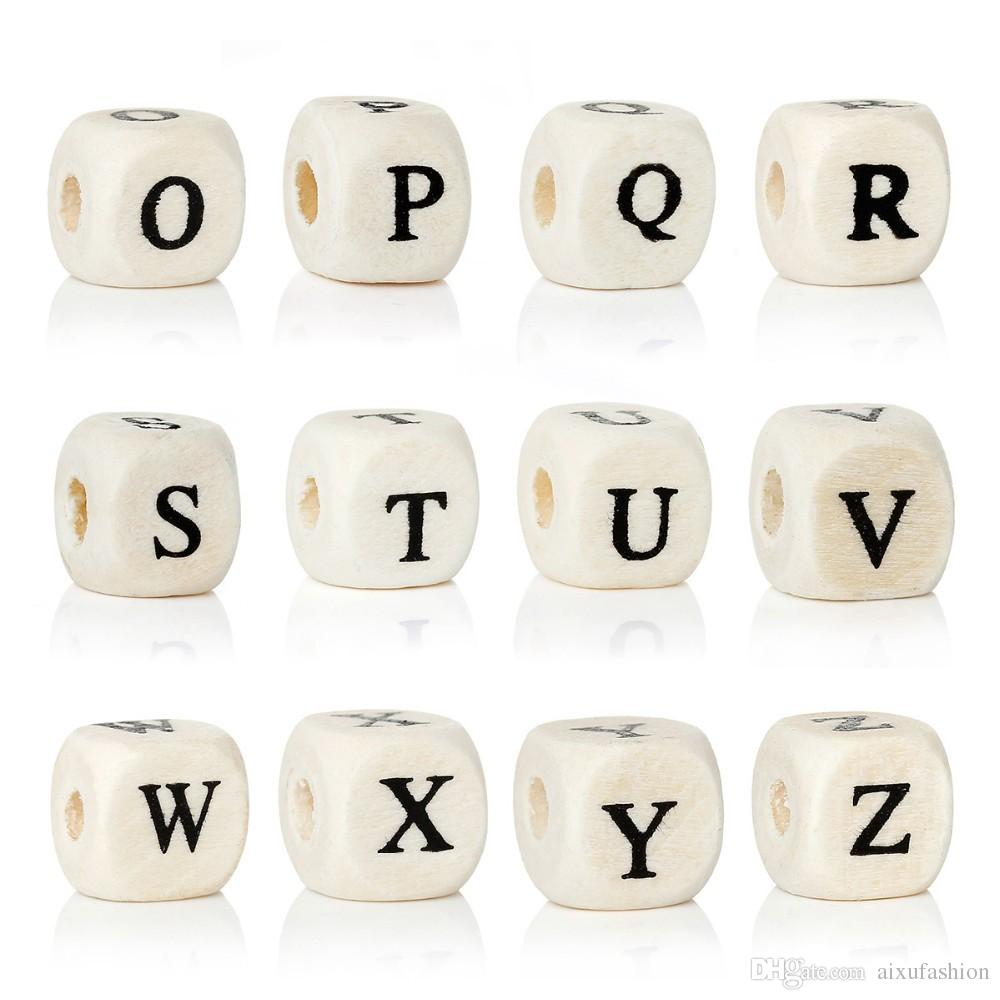 Holzperlen 200 teile / los Natürliche Alphabet / Letter Cube Holzperlen 8x8mm 10x10mm Für Schmuck Machen DIY Armband Neklace Lose Perlen