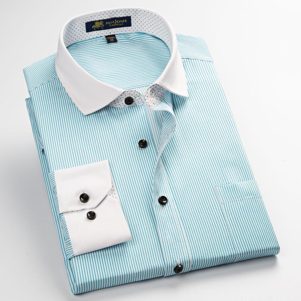 2019 Wholesale 2017 New Mens Shirts Brand Long Sleeve Striped Plaid