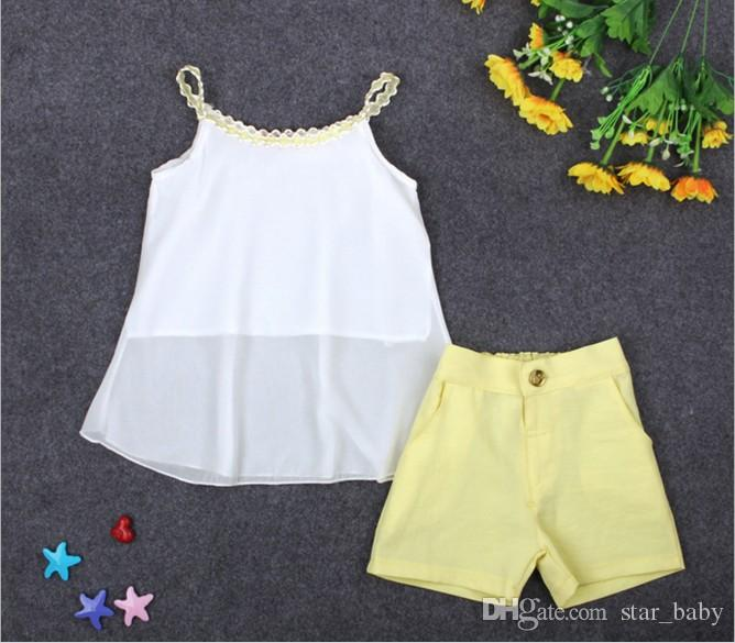 Hot Sell Kids Summer Clothing Sets Baby Girl White Chiffon Sun Tops +Yellow Shorts Pants Set Children Outfits Cute Casual Suit Q0867