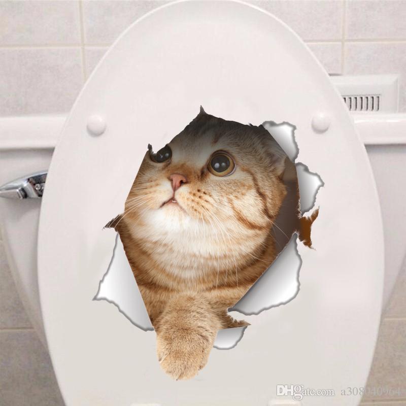 비닐 방수 고양이 개 3D 벽 스티커 구멍보기 욕실 화장실 거실 홈 데코 포스터 배경 벽 스티커