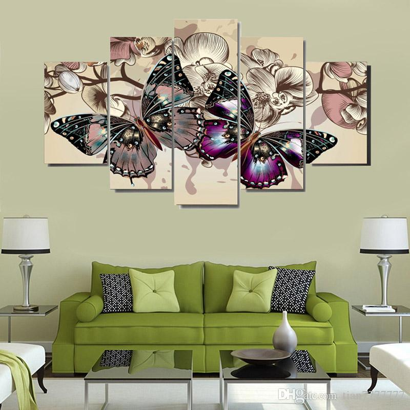 5 Panel Wall Canvas Poster Prints Pittura astratta Floral Butterfly Painting Immagini di arte della parete Prined Modular Home Decoration