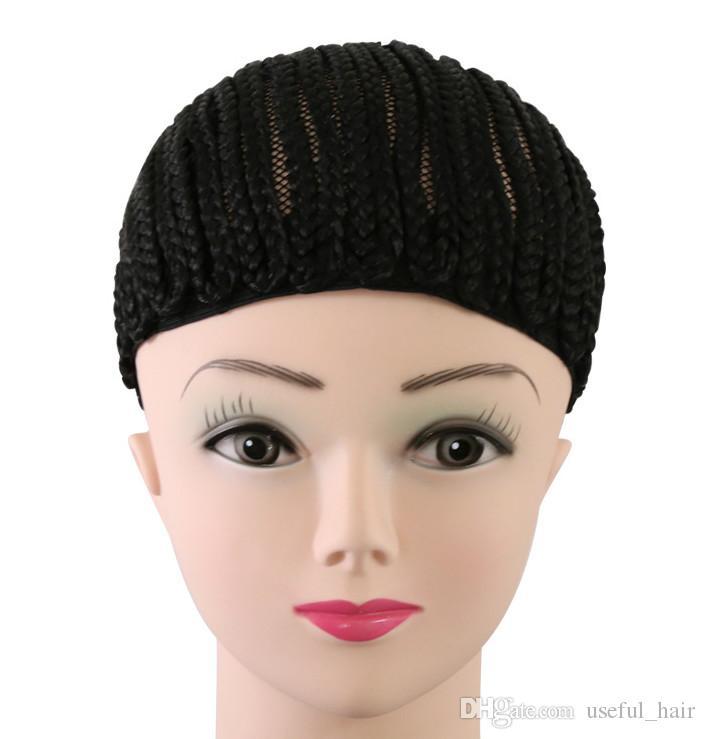 도매 모자 가발 쉬운 cornrow croceht가 발 검은 꼰 모자 70g 합성 크로 셰 뜨개질 머리 띠, 머리카락 확장을위한 protectif 스타일에 대 한 만든