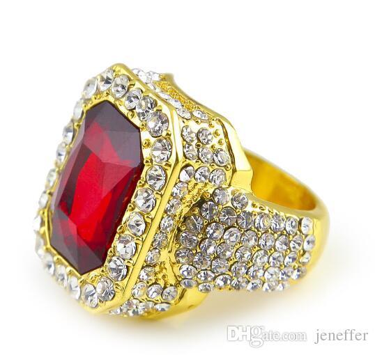 Heißer Verkauf neue Legierung Mann-Hip-Hop-Ring-Art- und Weisepunk-Art-Goldfarbe verließen heraus vollen Rhinestone-Quadrat-roten blauen grünen Edelstein-Kristall-Ring-Schmucksachen