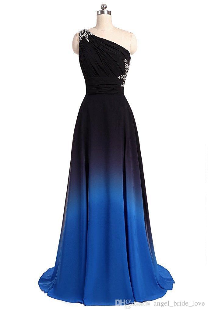 2017 neue Elegante Gradienten Prom Kleider Mit Perlen Appliques Bodenlangen Party Kleider Formale Kleider Vestido De Festa QS1086