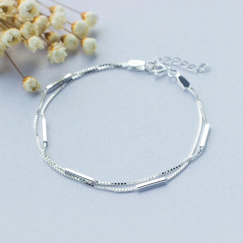 925 Sterling Silver Double Bands Layers Bracelet Women Simple ...