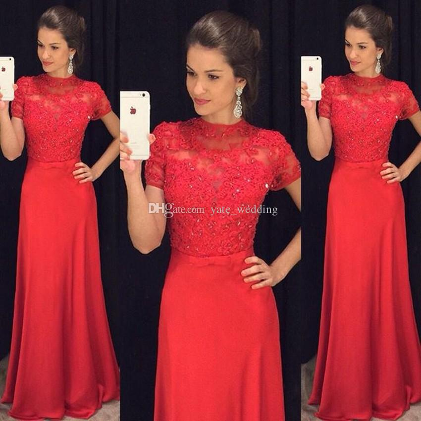 Elegant Lace Bodice Red Evening Dresses High Neck Short Sleeves Satin Floor Length Modest Prom Dresses Formal Gowns With Sash Bow
