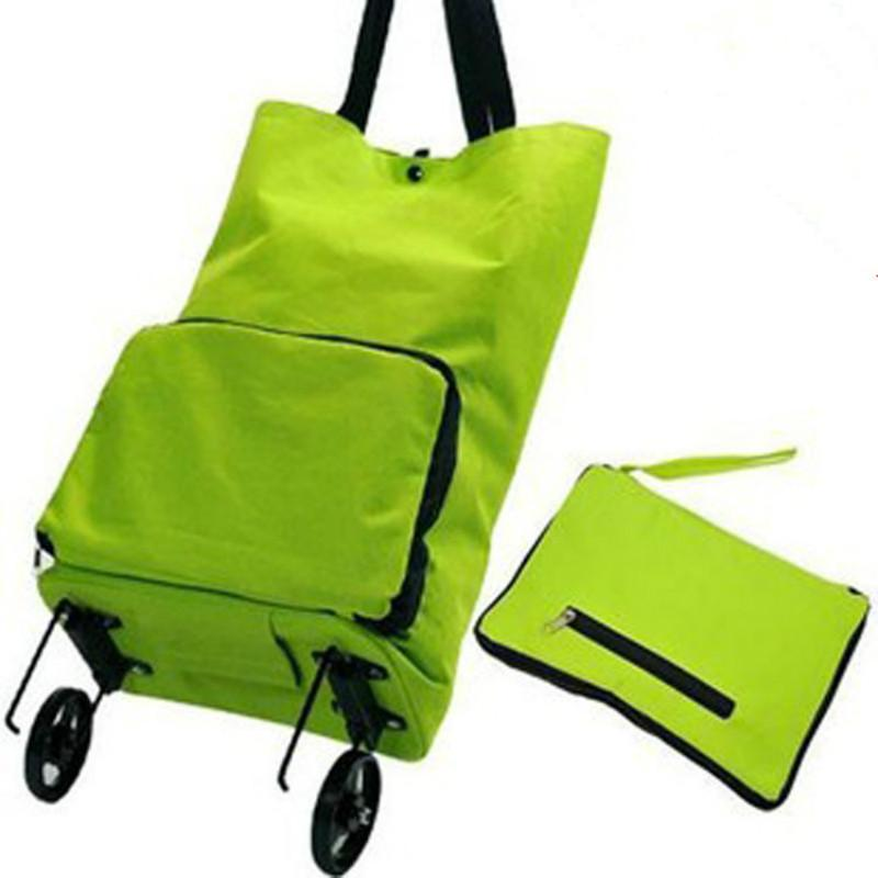 f2fbe8c80ca6 Wholesale- The portable folding bags supermarket shopping cart trolley  wheel package shopping bag