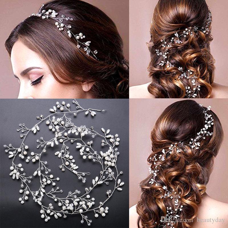 Matrimonio Damigella d'onore Fatti a mano in argento Strass Perla Fascia capelli Accessori capelli di lusso Accessori capelli Fascinators Tiara Gold