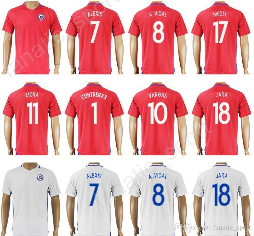 9e2300277 2019 17 18 Thailand 7 Alexis Sanchez Soccer Jersey Chile Football Shirt  Custom Camiseta De Futbol 8 Arturo Vidal 11 Eduardo Vargas 17 Gary Medel  From ...