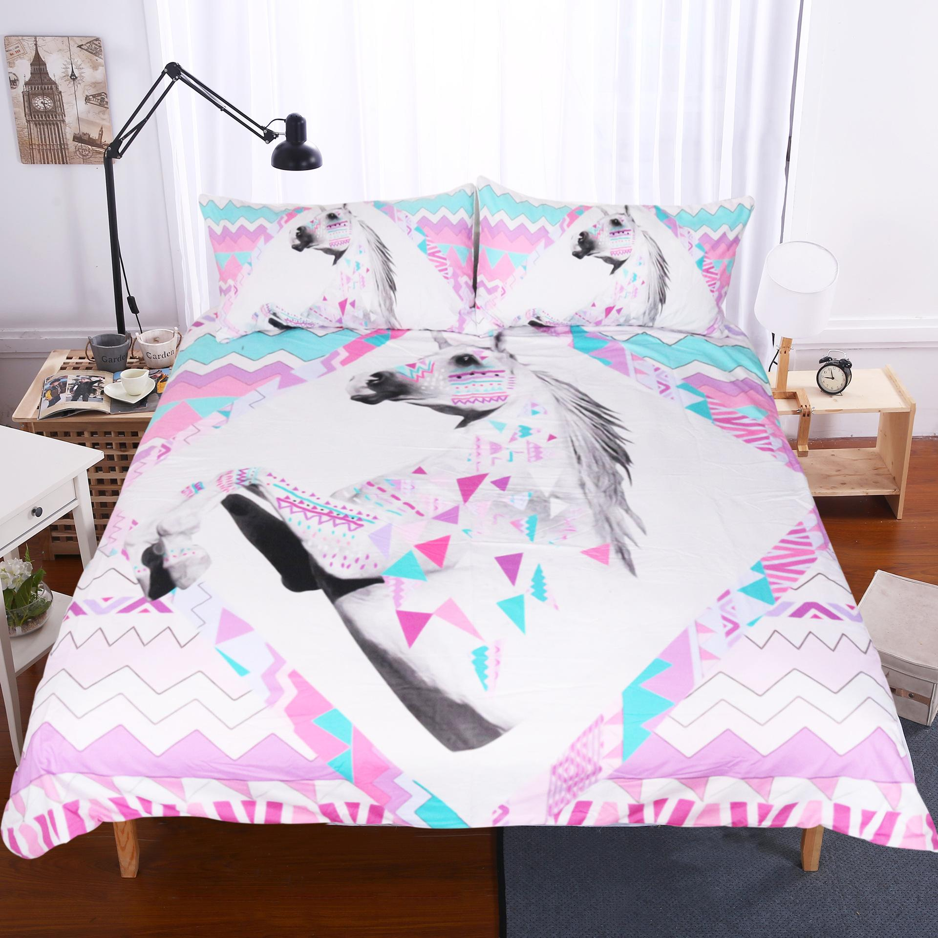 Charming 3d Unicorn Bedding Set Queen Size Watercolor Print Bed Set Kids Girl Flower  Duvet Cover Colored Dreamlike Bedlinen Gold Bedding Queen Comforter From ...