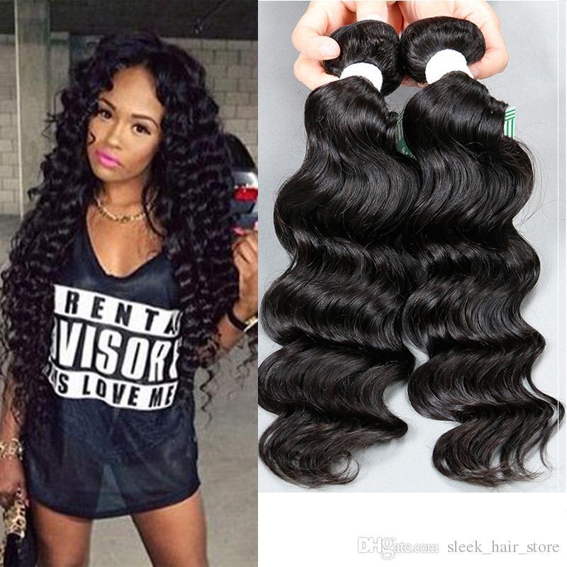 Rebecca Sleek Hair Deep Wave Brazilian Human Hair Weaves Unprocessed