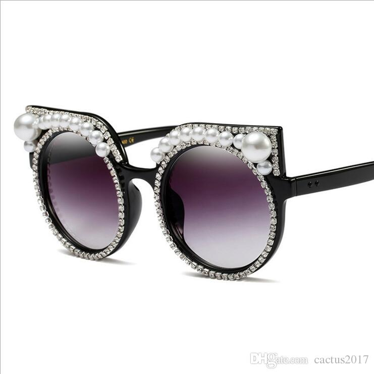 583db80ea5 Fashion Luxury Rhinestone Cat Eye Sunglasses Women Brand Designer Oversized  Cat Sunglasses Pearl Ladies Party Black Sunglasses Shop Bolle Sunglasses  From ...