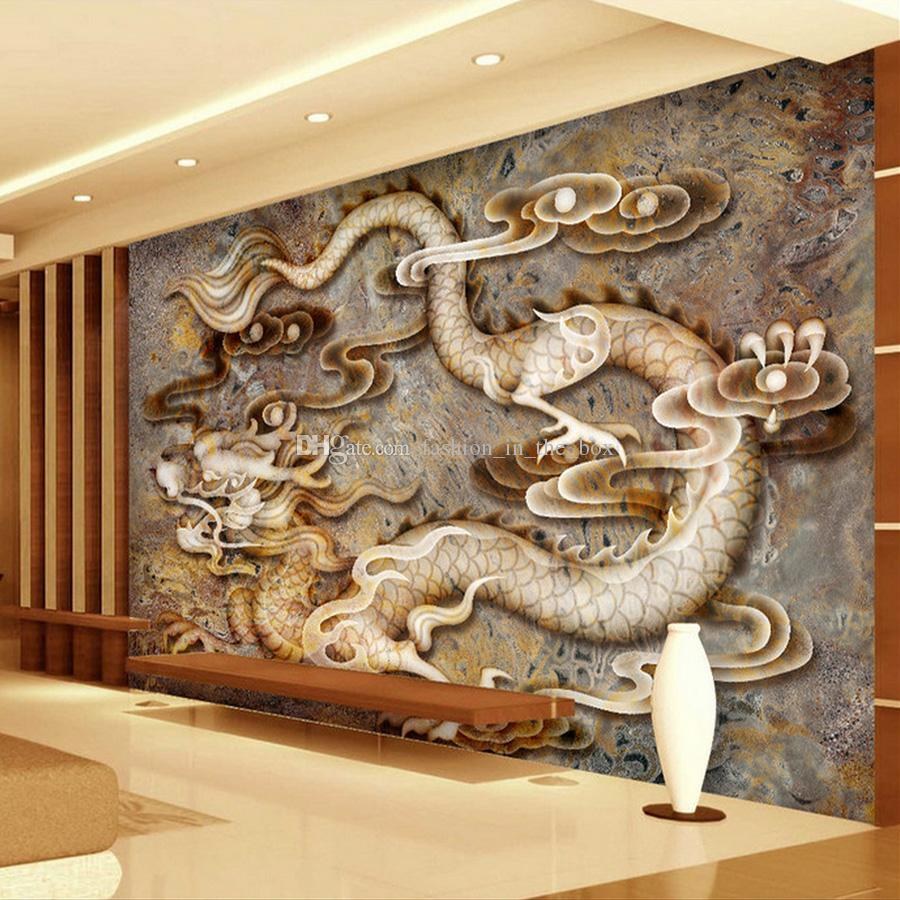 Custom d wallpaper carved dragon marble wall mural