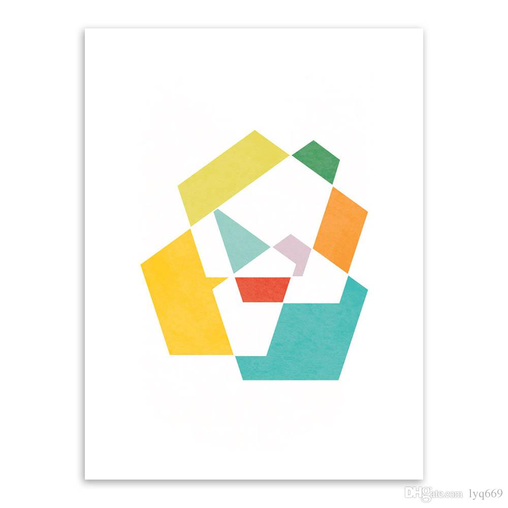 Modern Original Colorful Abstract Geometric Shape Canvas A4 Art Print Poster Nordic Wall Pictures Home Decor Painting No Frame
