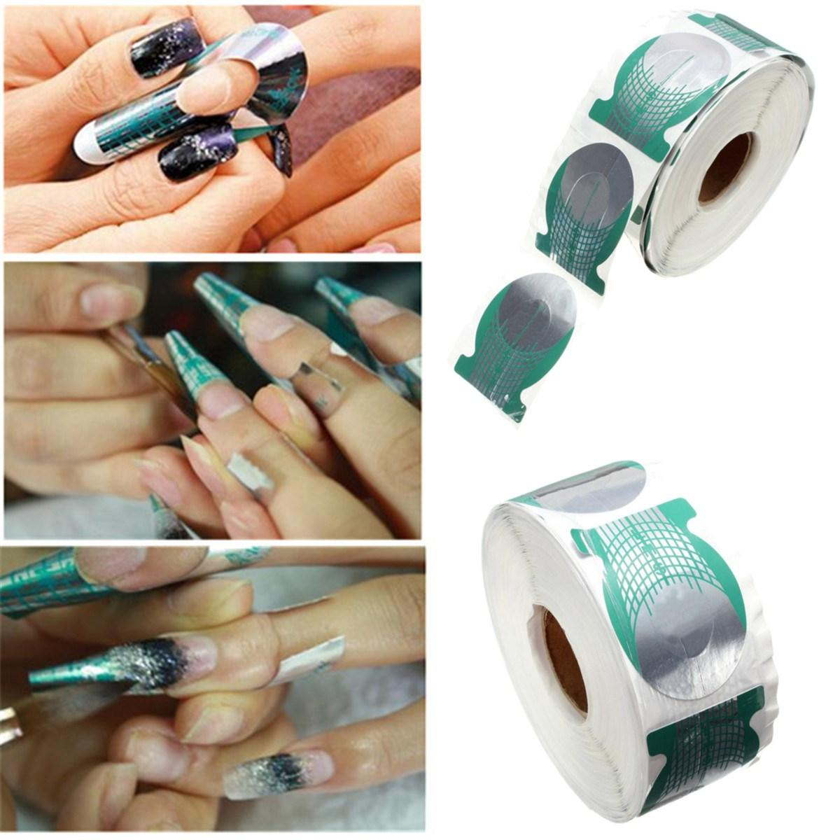 Wholesale /Roll Nails Extension Form Green Horseshoe Shape Nail Art ...