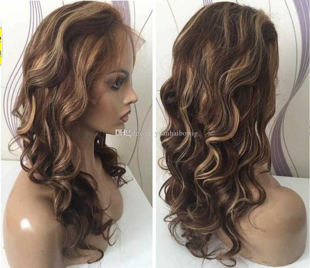 Wavy highlight full lace wig with natural hairline 130 density loose wave highlight lace wig brazilian hair lace front wigs with baby hair