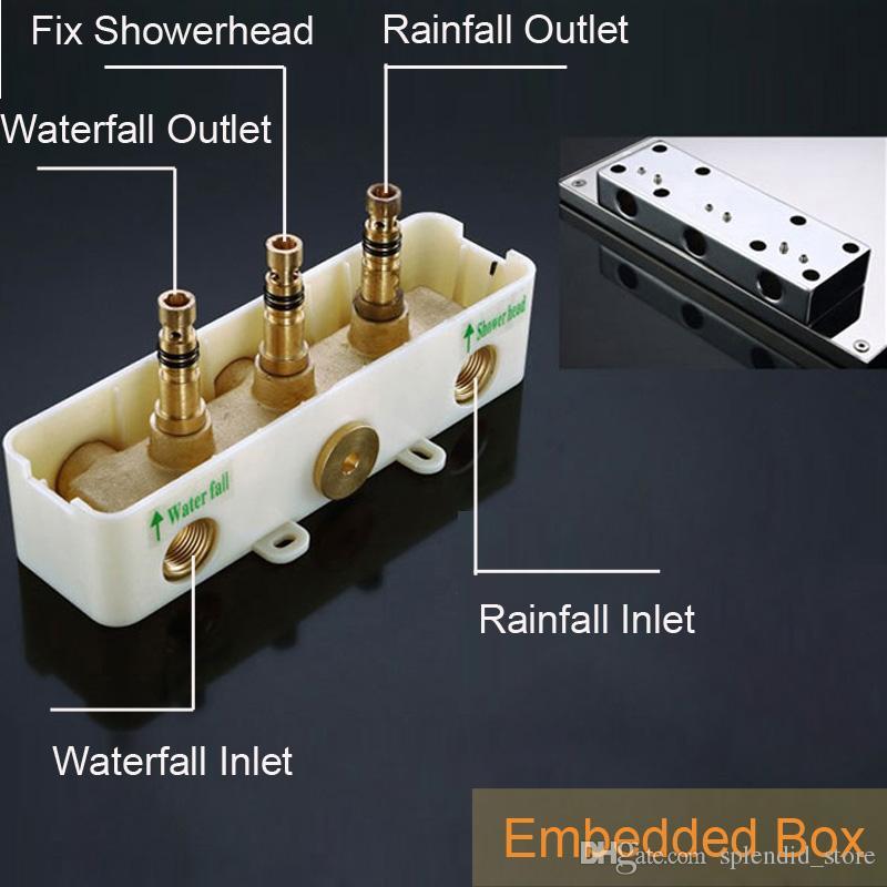 현대적인 욕실 샤워 헤드 304 스테인레스 스틸 광택 2 기능 샤워 패널 벽에 비, 폭포 Douche 장착