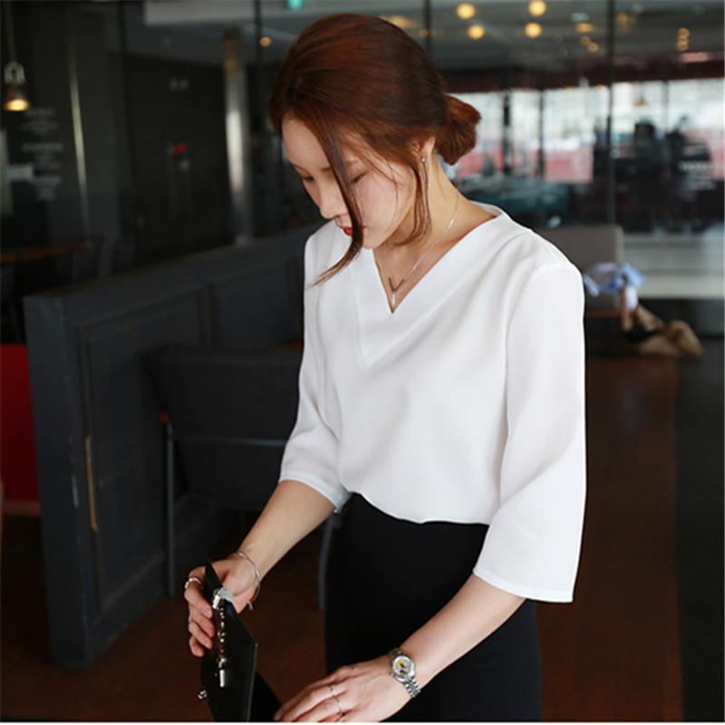 Sıcak satmak bahar yaz Kore casual v yaka gevşek şifon kadın bluzlar gömlek artı boyutu beyaz pembe bayanlar bluz blusas tops