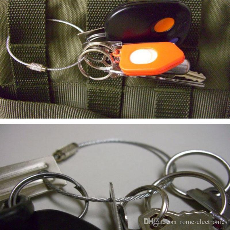15cm en acier inoxydable fil porte-clés câble pendentif boucle outils de boucle avec serrure pour randonnée en plein air escalade de travail