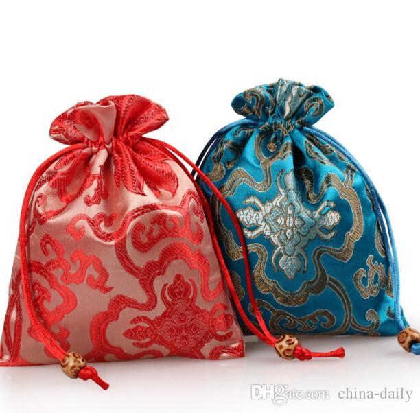 Free Ship Handmade High quality 13*16cm Embroider Bag Jewelry Bags Candy Beads Purse Bags Wedding Party Gift Bags
