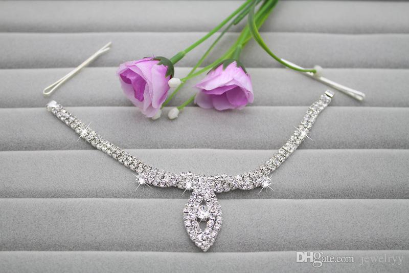 New Crystal Bridal Hair Accessories Wedding Rhinestone Waterdrop Flower Tiara Crown Headband Frontlet Hair bands Jewelry for Bride