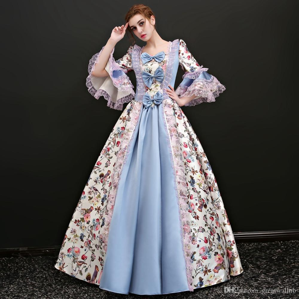 40454f2187676 Free Ship Long Flare Sleeve Pastoral Style Venice Carnival Queen Ball Gown  Medieval Dress Renaissance Gown Victoria/Antoinette Cute Halloween Costumes  For ...
