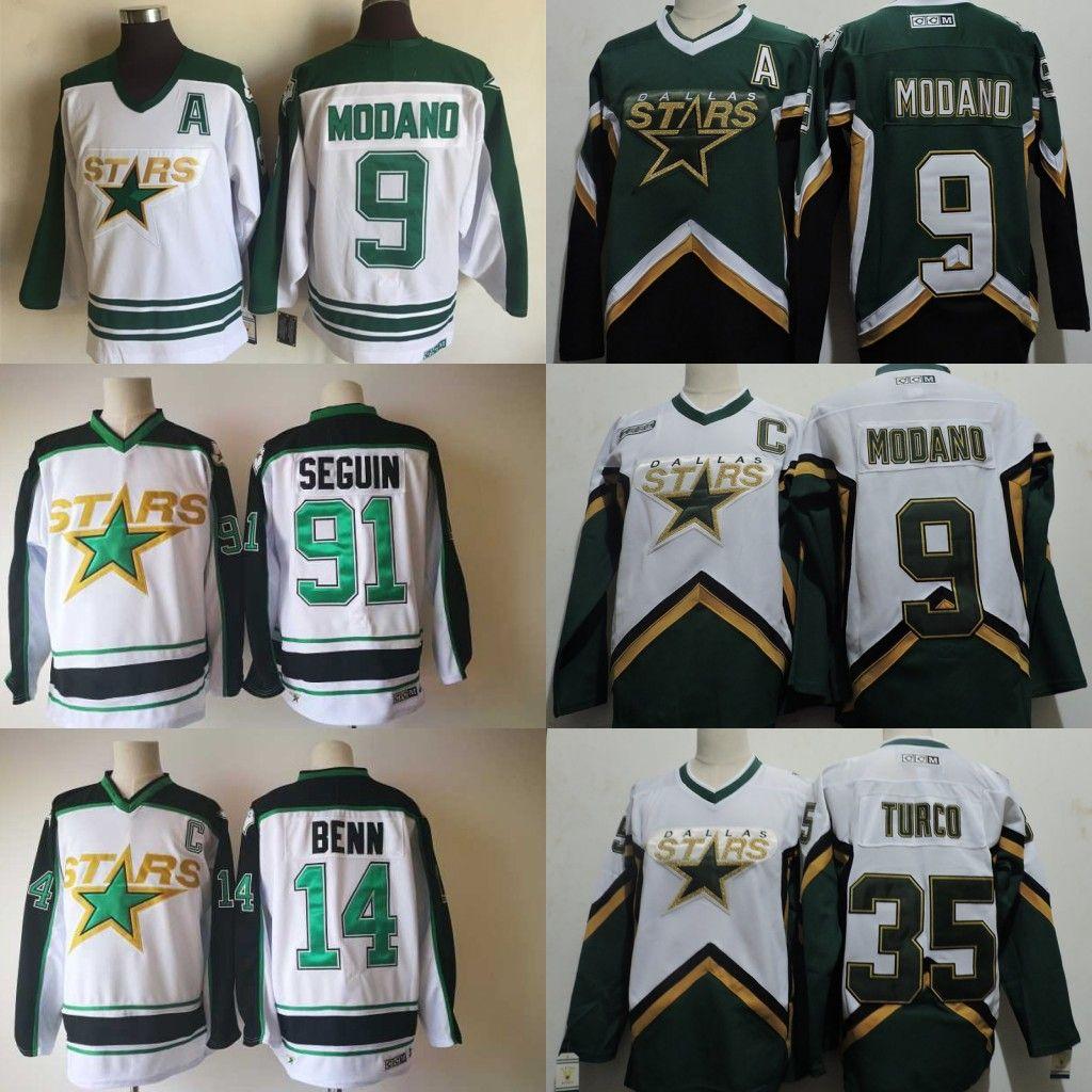 91975f4ff Compre Vintage CCM Dallas Stars Hockey Uniformes Blanco 14 Jamie Benn 91  Tyler Seguin 9 Mike Modano Mens Hockey Sobre Hielo Jersey Cosido A  25.39  Del B2bcn ...