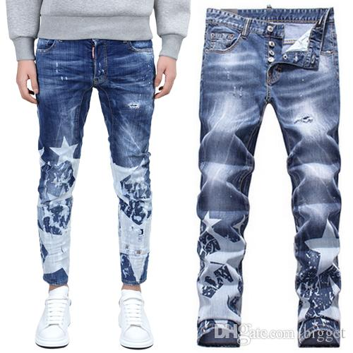 2017 brand name jeans men hot sale printed star paint splattered bleach slim fit denim pants distressed hole fashion show jean trousers male from bigget - Paint Brand Names