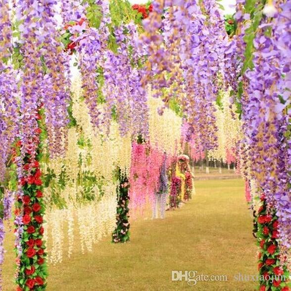 2017New Yapay ivy çiçekler Ipek Çiçek Wisteria Vine çiçek Rattan Düğün Centerpieces Süslemeleri için Buket Çelenk Ev Süsleme