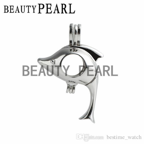 Bulk of Gift Cage 925 Sterling Silver Locket Love Wish Pearl Lovely Dolphin Pendant Cage