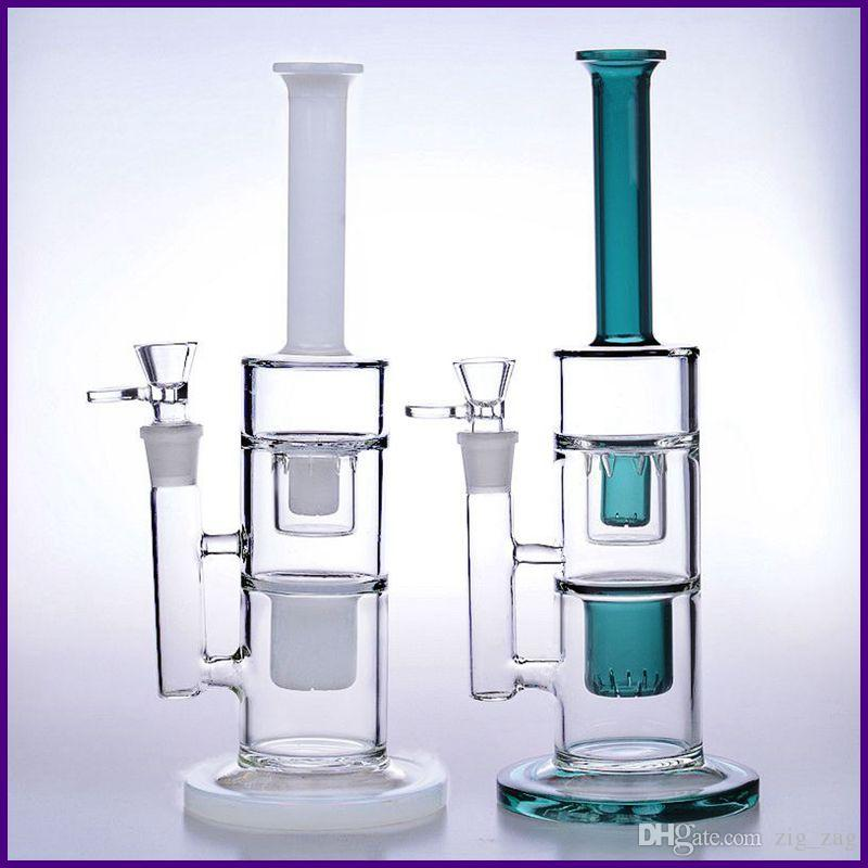 32cm tall colorful glass bongs water pipes 14mm recycler oil rigs dab beaker bowl smoking inline honeycomb perc 18mm white green