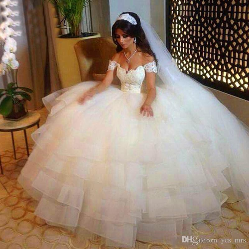 2017 Sexy New Ball Gown Wedding Dresses Cap Sleeves Short Sleeves Lace Appliques Puffy Tiered Organza Sweep Train Plus Size Bridal Gowns