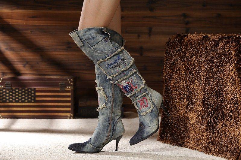 Vintage Side Zipper Femmes Denim Boots Beaux Talons Hauts Bout Pointu Cristal Genou Bottes D'hiver Chaud Jeans Long Botas Mujer