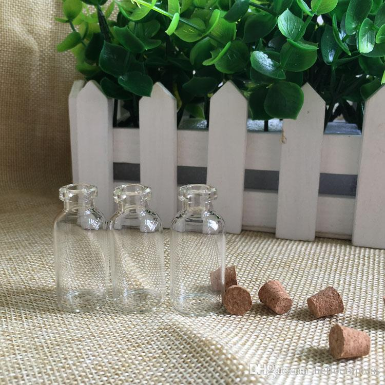 Wholesale 3ml Clear Glass Bottle Of Wishes Vials With Wood Cork HIgh Quality 3ml Container For Saffron Candy Vanilla Tea Food Drop Shipping