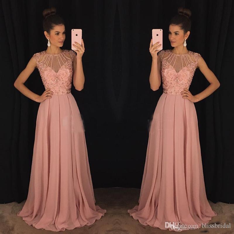 2017 chique rosa vestidos de baile de uma linha de jóias principais frisado ilusão corpete chiffon celebridade formal vestidos para festa desgaste plus size