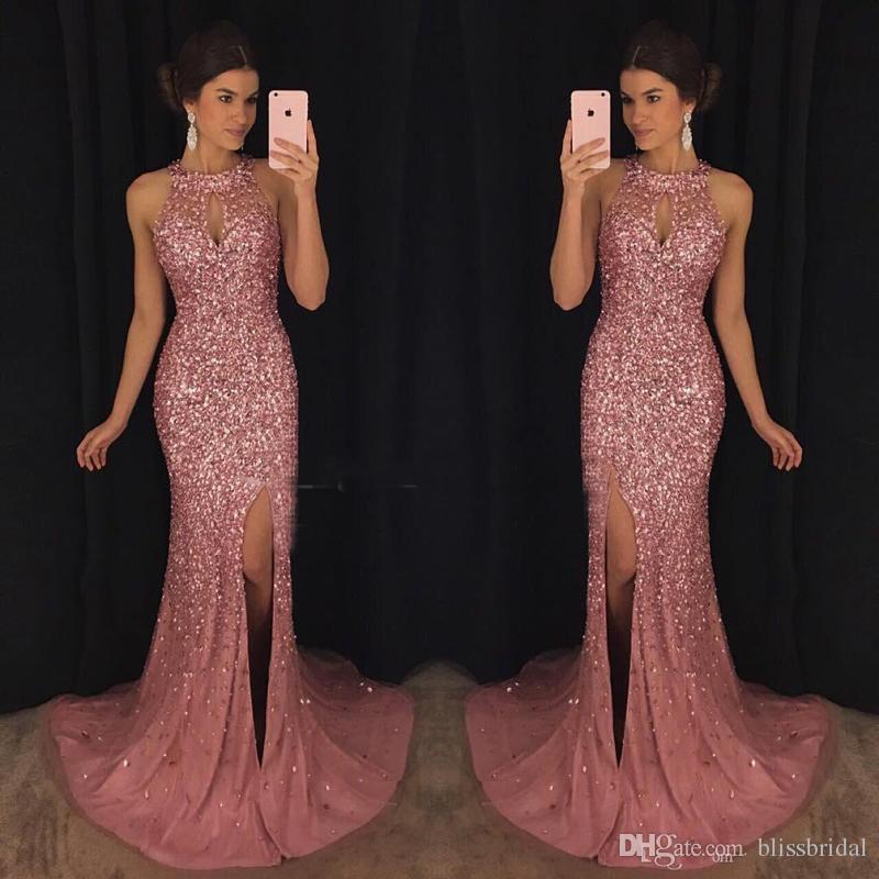 Luxury Pink Evening Dresses Kaftan Abaya Middle East Saudi Arabia 2017 Mermaid Halter Sexy Split Prom Dresses Dress for Party Wear Plus size